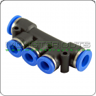 """5-Way Pipe Manifold - Tube OD 1/4"""" Quick Release Fitting"""