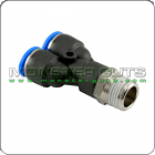 "Male Y Connector Tube OD 1/4"" x NPT 1/4"" Quick Release Fitting"